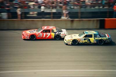 Dale Earnhardt And Darrell Waltrip Race At Daytona Poster by Retro Images Archive