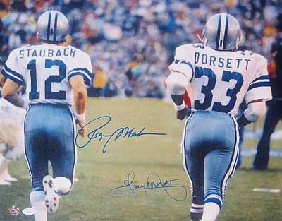 Dallas Cowboys #12 Roger Staubach And #33 Tony Dorsett Poster by Donna Wilson