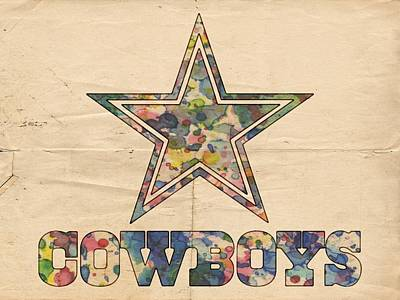 Dallas Cowboys Vintage Art Poster by Florian Rodarte