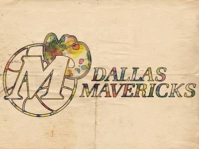 Dallas Mavericks Vintage Poster Poster by Florian Rodarte