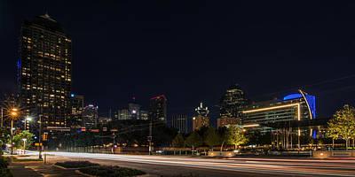 Dallas Night Skyline From Klyde Warren Park Poster