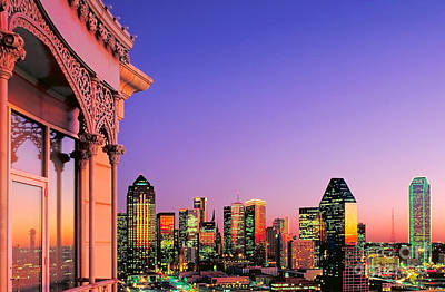 Poster featuring the photograph Dallas Skyline At Dusk by David Perry Lawrence