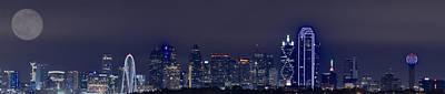 Dallas Skyline Full Moon Poster by Jonathan Davison