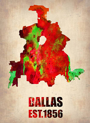 Dallas Watercolor Map Poster by Naxart Studio