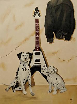 Dalmation Pups And The Flying V Poster by John Stuart Webbstock