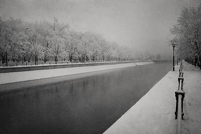 Dambovita River In Winter Poster by Cristina-Velina Ion