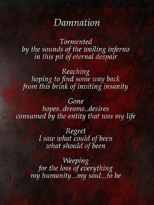 Damnation Poster by Rhonda Barrett