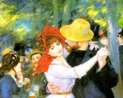 Dance At Bougival Detail Poster by Pierre Auguste Renoir