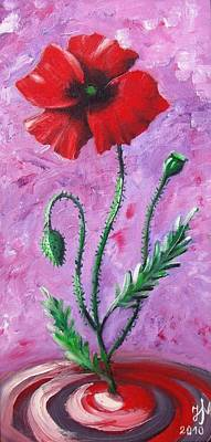 Poster featuring the painting Dance Of The Poppy by Nina Mitkova