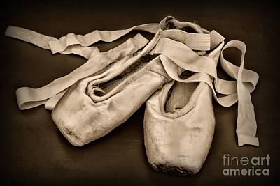 Dancer - Ballerina Shoes - Black And White Poster