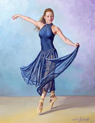 Dancer In Dark Blue Poster by Paul Krapf