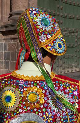 Dancer In Native Costume Peru Poster by Bill Bachmann