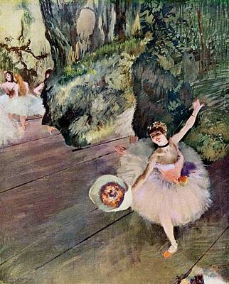 Dancer With Bouquet Of Flowers Poster by Edgar Degas