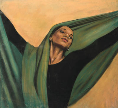 Dancer With Green Veil Poster by L Cooper