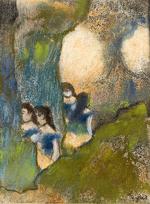 Dancers Behind The Scenes Poster by Edgar Degas