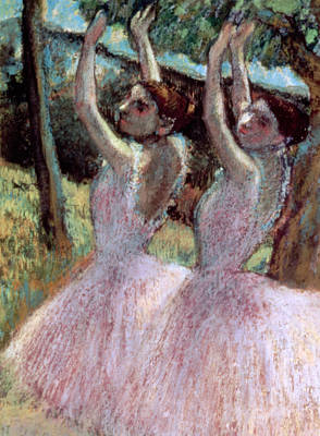 Dancers In Violet Dresses Poster by Edgar Degas
