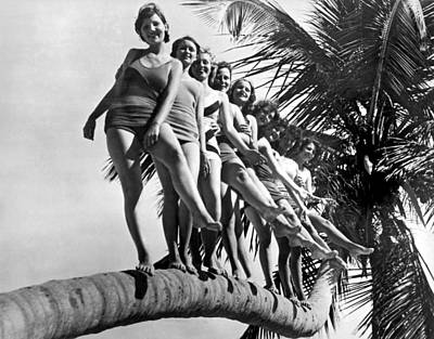 Dancers Practice On Palm Tree Poster by Underwood Archives