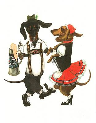 Dancing Dachshunds Poster