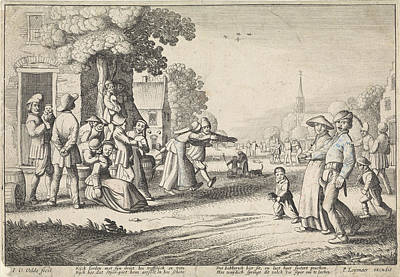 Dancing Farmers During A Village Festival Poster by Jan Van De Velde Ii And P. Leijenaar