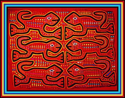 Dancing Geckos Poster by Vagabond Folk Art - Virginia Vivier