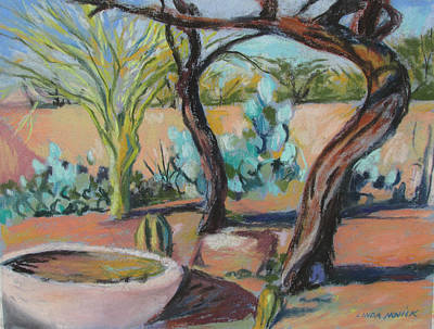 Poster featuring the painting Dancing Mesquite Trees by Linda Novick