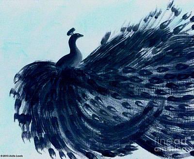 Poster featuring the digital art Dancing Peacock Aqua by Anita Lewis