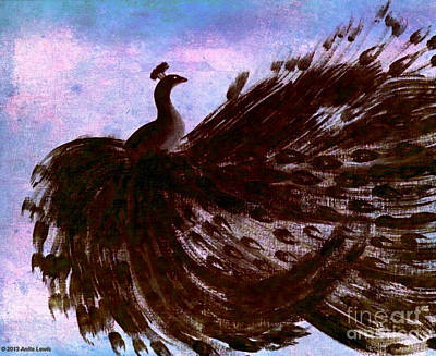 Poster featuring the digital art Dancing Peacock Blue Pink Wash by Anita Lewis