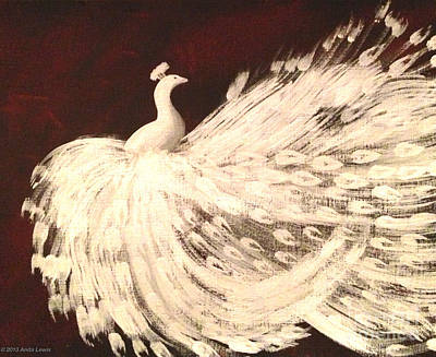 Poster featuring the painting Dancing Peacock Cream by Anita Lewis