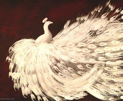 Dancing Peacock Cream Poster by Anita Lewis