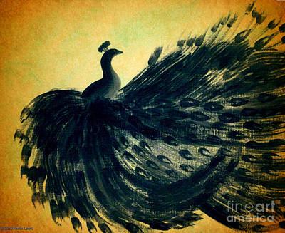 Dancing Peacock Gold Poster by Anita Lewis
