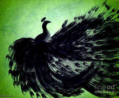 Poster featuring the digital art Dancing Peacock Green by Anita Lewis