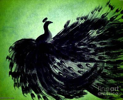 Dancing Peacock Green Poster by Anita Lewis