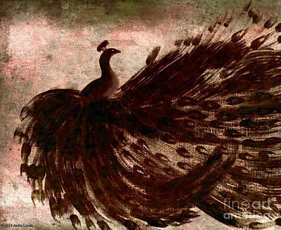 Poster featuring the painting Dancing Peacock Grey by Anita Lewis