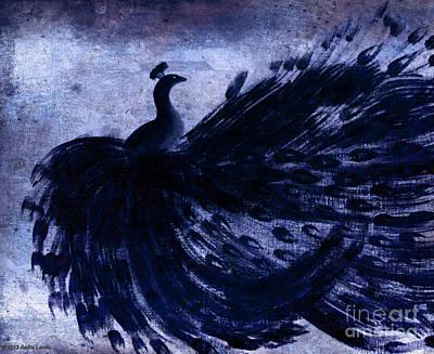 Dancing Peacock Navy Poster by Anita Lewis