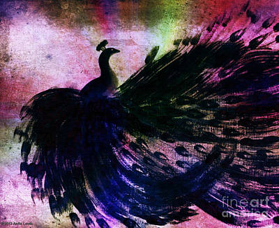Poster featuring the digital art Dancing Peacock Rainbow by Anita Lewis