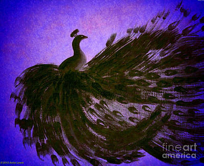 Dancing Peacock Vivid Blue Poster by Anita Lewis