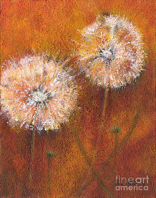 Poster featuring the painting Dandelion Clocks by Sandy Linden