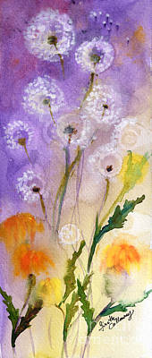 Dandelion Puff Balls Watercolor Poster by Ginette Callaway