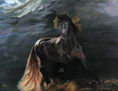 Dappled Horse In Stormy Light Poster by LaVonne Hand