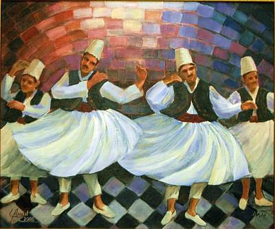 Poster featuring the painting Daraweesh Dancing by Laila Awad Jamaleldin