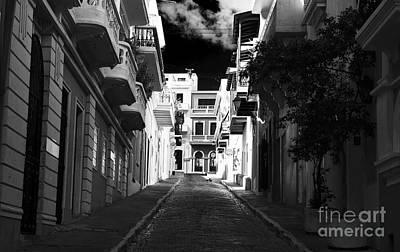 Dark Alley In San Juan Poster by John Rizzuto