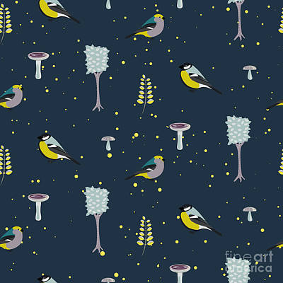 Dark Blue Forest Seamless Pattern With Poster