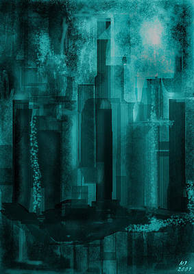 Poster featuring the digital art Dark City by Martina  Rathgens