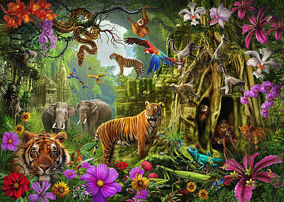 Poster featuring the drawing Dark Jungle Temple And Tigers by Ciro Marchetti