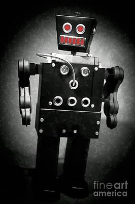 Dark Metal Robot Oil Poster by Edward Fielding