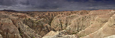 Poster featuring the photograph Dark Panorama Over The South Dakota Badlands by Sebastien Coursol