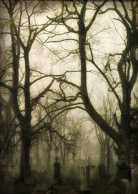 A Dark Fog Washes The Old Graveyard Poster by Gothicrow Images