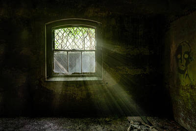 Poster featuring the photograph Darkness Revealed - Basement Room Of An Abandoned Asylum by Gary Heller