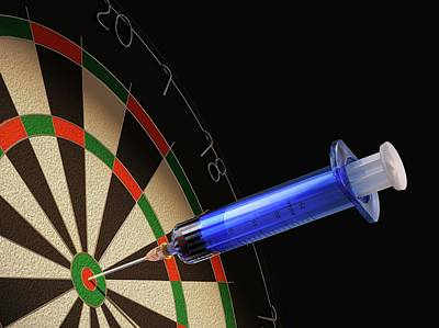 Dartboard And Medical Syringe Poster