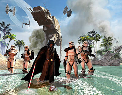Darth Vader Searching The Beach Poster
